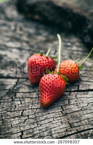 Fresh strawberries on wood. Summer fruit. Fruit on wood - stock photo