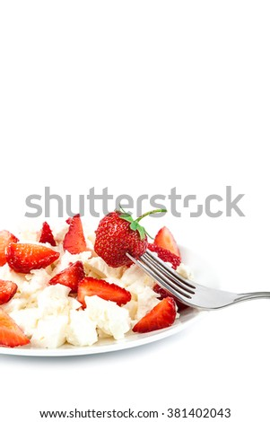 Fresh strawberries with cottage cheese and metal fork isolated on a white background. - stock photo