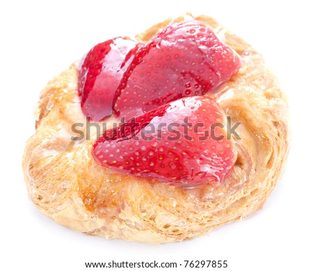 fresh strawberry cake isolated on white background - stock photo