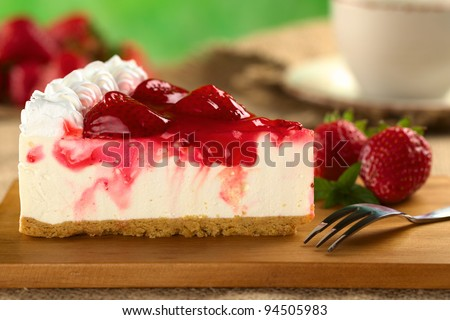Fresh strawberry cheesecake (Selective Focus, Focus on the front upper edge of the cake) - stock photo