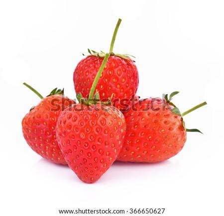 Fresh strawberry fruit berries on white background - stock photo