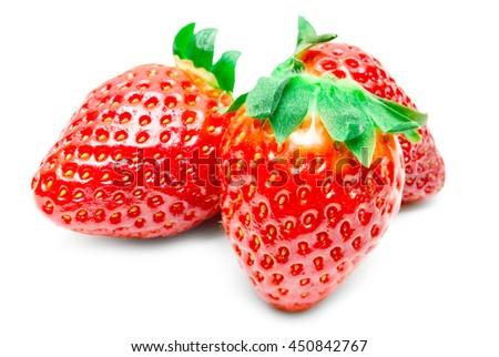 Fresh strawberry fruit isolated on white background - stock photo