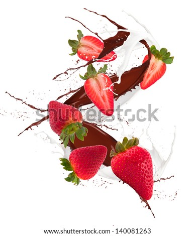 Fresh strawberry in chocolate and mill splash over white background - stock photo
