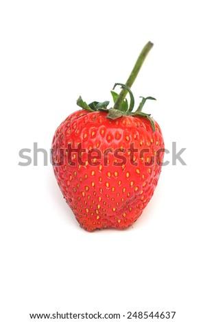 Fresh strawberry isolated on white background - stock photo