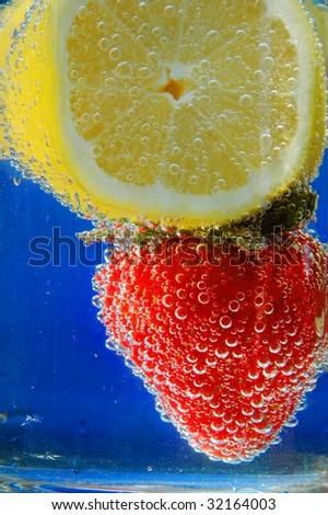 Fresh Strawberry & Lemon Fizz - stock photo