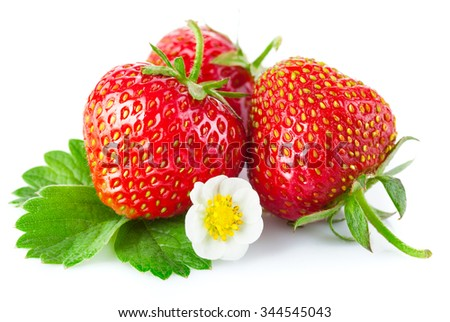 Fresh strawberry with green leaf and flower. Isolated on white background - stock photo