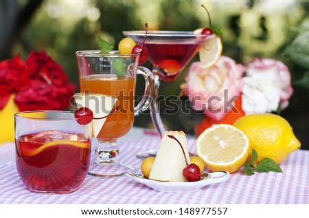 Fresh summer cocktails decorated with lemon, melon, cherries and plums on a background of a summer garden - stock photo