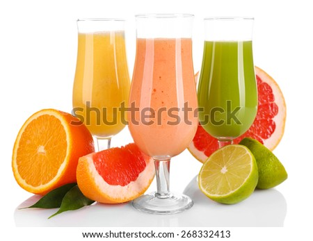 Fresh summer cocktails with fruits  isolated on white - stock photo