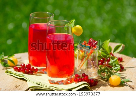 Fresh summer drink from plum cherry and redcurrent  - stock photo