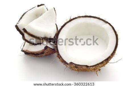 Fresh Suntan in Half Coconut Shell; non sharpen - stock photo