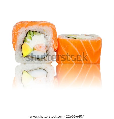 Fresh sushi roll isolated with reflection - stock photo