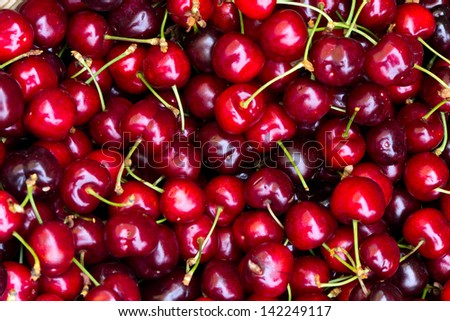 Fresh sweet cherries - stock photo