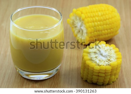 fresh sweet corn juice corn milk - stock photo