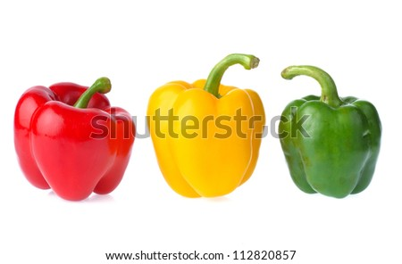 Fresh sweet pepper isolated on white background - stock photo