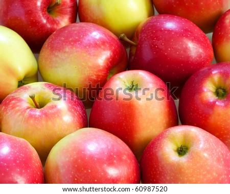 fresh sweet red apples closeup - stock photo
