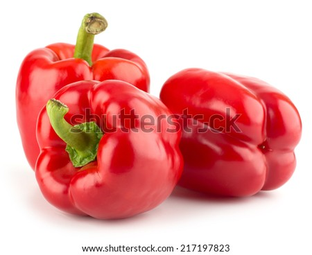 Fresh, sweet, red bell peppers isolated on white background - stock photo