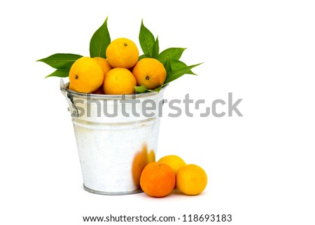 fresh tangerines in the bucket - stock photo