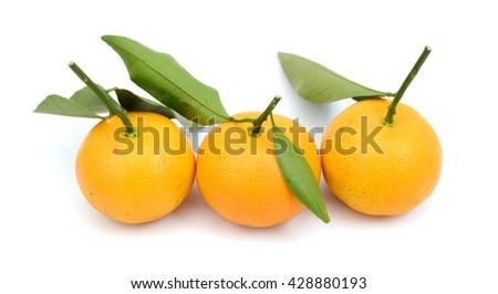 fresh tangerines isolated on white  - stock photo