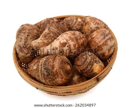 fresh taro on white background  - stock photo