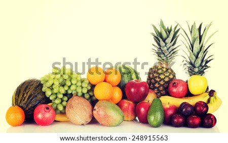 Fresh tasty and healthy fruits composition.  - stock photo
