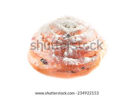 fresh tasty bun isolated on white background - stock photo
