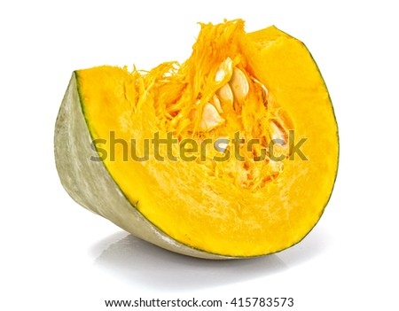 Fresh Tasty Sweet Green Pumpkin Isolated on White Background Studio Photo - stock photo
