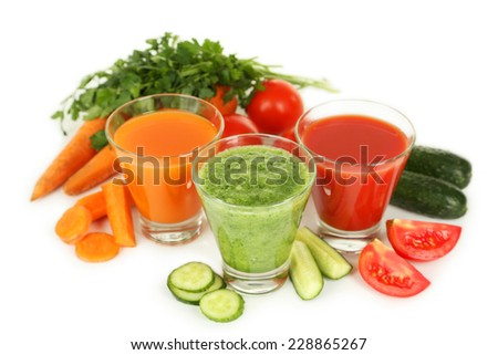 Fresh tomato, carrot and cucumber juice isolated on white - stock photo