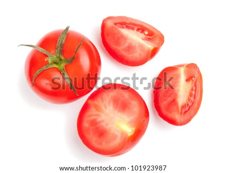 Fresh tomato cutted on white background - stock photo
