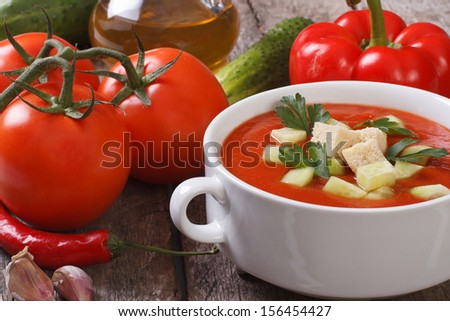 Fresh tomato gazpacho soup with vegetables and oils on the table - stock photo