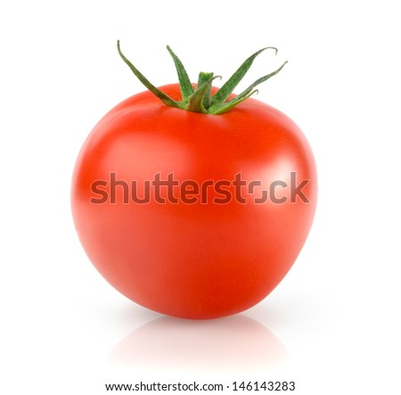Fresh Tomato, Isolated on White Background - stock photo