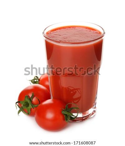 Fresh tomato juice isolated on white background - stock photo