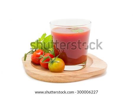 Fresh tomato juice isolated on white background. - stock photo
