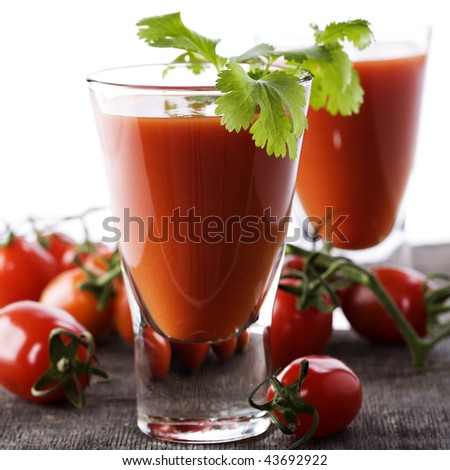 Fresh Tomato juice or Bloody Mary with tomatoes - stock photo