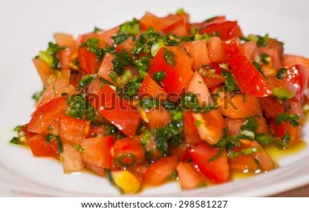 fresh tomato salad - stock photo