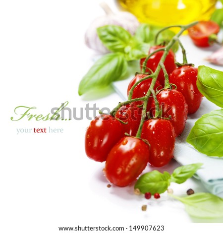 fresh tomatoes  and basil on white  background (with easy removable sample text) - stock photo