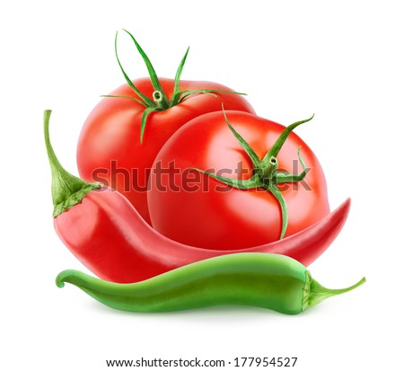 Fresh tomatoes and hot peppers (ketchup ingredients) over white background - stock photo