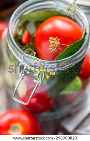Fresh tomatoes and spices in the pot close up. - stock photo