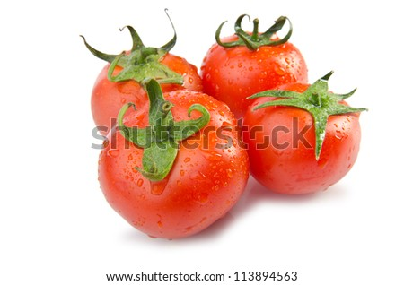 Fresh tomatoes isolated on the white - stock photo