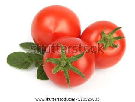 fresh tomatoes on a white background - stock photo