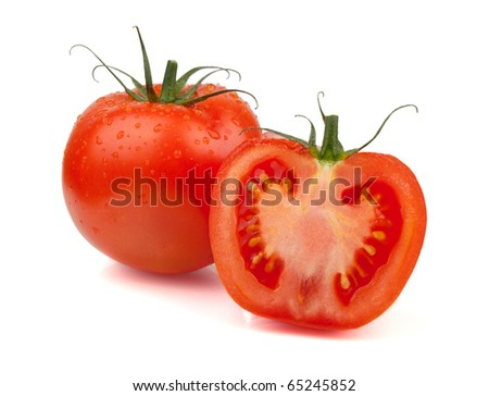 Fresh tomatoes with water drops. Isolated on white background - stock photo