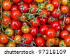 Fresh tomatos background at a market in Rome - stock photo