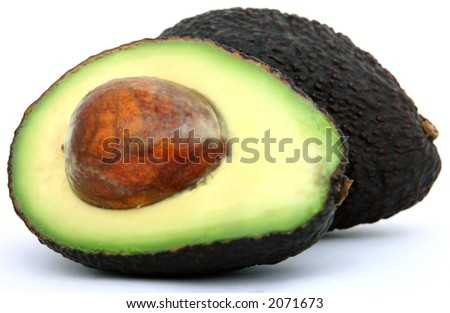 Fresh tropical avocado pear fruit, healthy food on white, macro close up over white with copy space. - stock photo