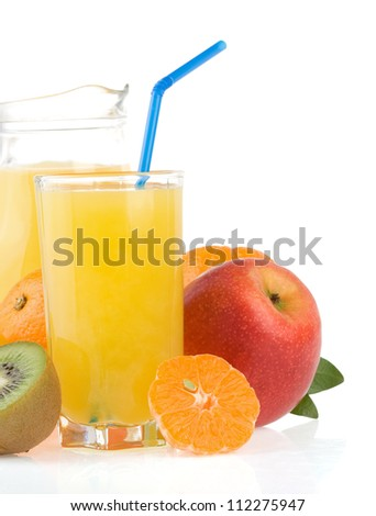 fresh tropical fruits and juice in glass isolated on white background - stock photo