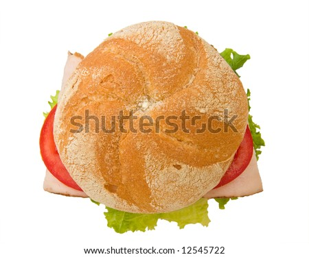 Fresh turkey breast sandwich on a delicious kaiser roll with lettuce and tomatoes, viewed from the top, isolated on white. - stock photo