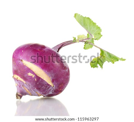 Fresh turnip isolated on white - stock photo
