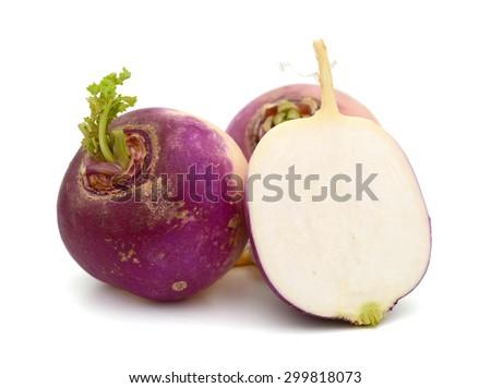 fresh turnips on white background  - stock photo