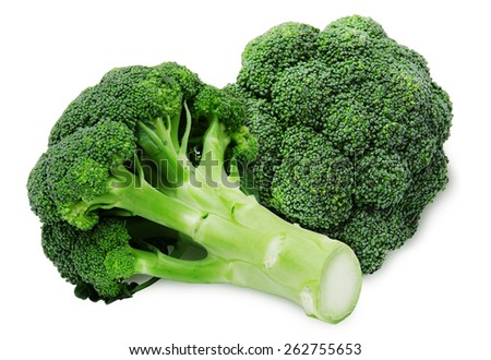 Fresh two green broccoli isolated on a white background - stock photo