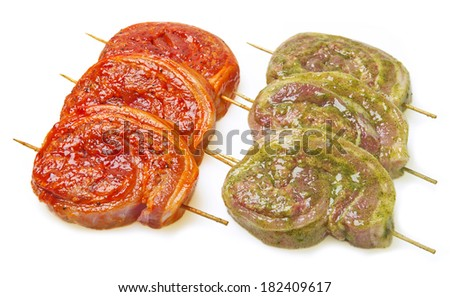 fresh uncooked bacon Barbecue - stock photo