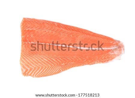 Fresh uncooked red fish fillet. Isolated on a white background. - stock photo