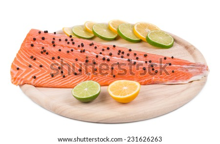 Fresh uncooked red fish fillet. Whole background.  - stock photo